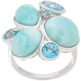 QVC Mixed Gemstone Statement Ring, Sterling Silver