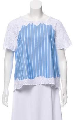 Jonathan Simkhai Striped Short Sleeve Top
