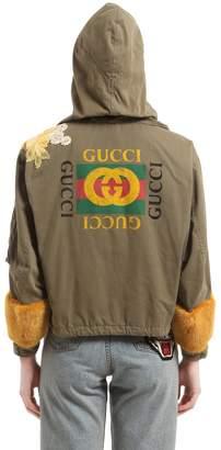 Gucci Logo Printed Fur Trim Parka