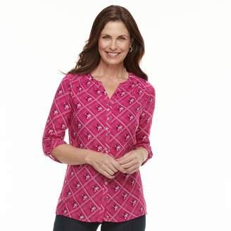 Croft & Barrow Women's Printed Shirred-Shoulder Shirt