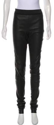 Rick Owens Leather High-Rise Skinny Pants