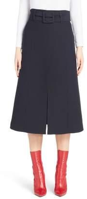 Fendi Wool & Silk Belted A-Line Skirt