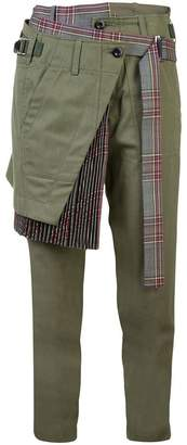 Sacai layered front cropped trousers