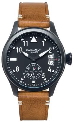 Jack Mason Aviation Leather Strap Watch, 45mm