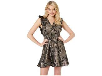 Betsey Johnson Ruffled Jacquard Party Dress Women's Dress