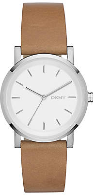 DKNY NY2339 Women's SoHo Leather Strap Watch, Brown/White