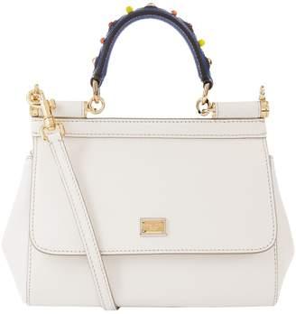28c436bb5f4 Dolce & Gabbana Small Leather Applique Handle Sicily Bag