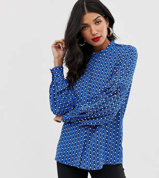 Y.A.S Tall geo print balloon sleeve blouse