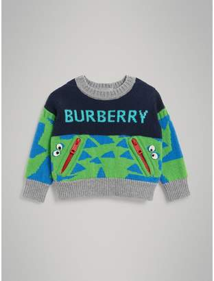 Burberry Childrens Monster Detail Intarsia Cashmere Sweater