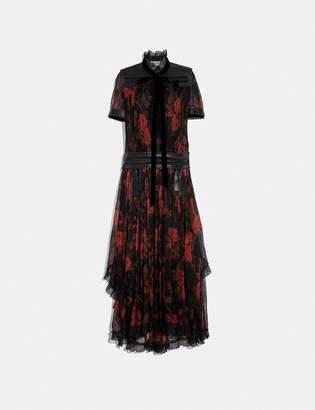 Coach Rose Print Ruffle Dress