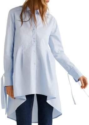 MANGO Mona Cotton Button-Down Shirt