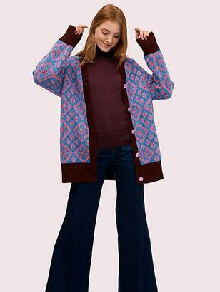 Kate Spade Spade Geo Cardigan, Stained Glass Blue - Size L