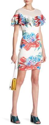 A.Calin Floral Tiered Ruffle Bodycon Dress