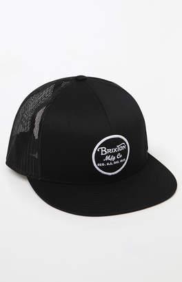 Brixton Wheeler Black Snapback Trucker Hat