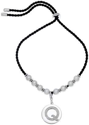 Affinity Diamond Jewelry Diamond Initial Adjustable Bracelet Sterling, 1/10 cttw, Affinity