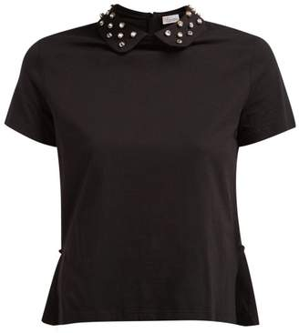 RED Valentino Crystal Embellished Cotton T Shirt - Womens - Black
