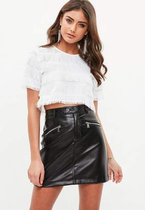 Missguided White Rodeo Fringe Crop Top