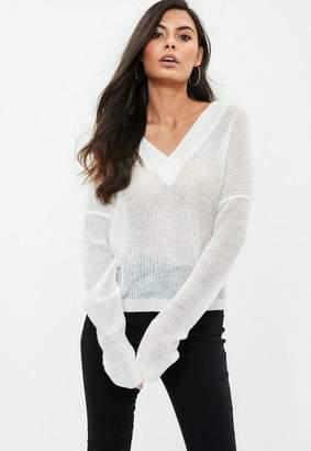 Missguided White V Neck Sheer Sweater