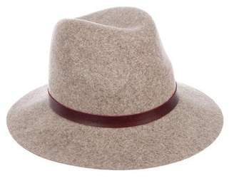 Janessa Leone Leather-Trimmed Felt Hat