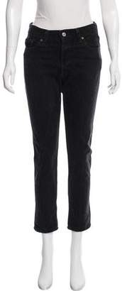 RE/DONE High-Rise Ankle Crop Straight-Leg Jeans w/ Tags