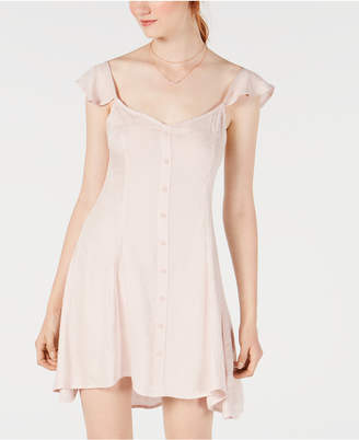 Material Girl Juniors' Button-Front Flutter Dress, Created for Macy's