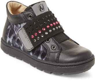 Naturino Toddler/Kids Girls) Black Leopard Mid-Top Sneakers