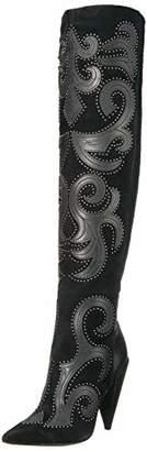 BCBGMAXAZRIA Women's Jolene Over The Knee Boot Suede/Black Leather