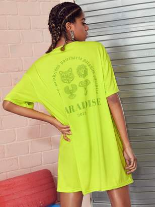 Shein Neon Lime Animal & Letter Print Tee Dress