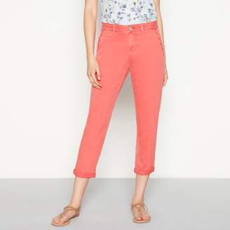 Mantaray Peach Embroidered 'Girlfriend' Regular Fit Cropped Chino Trousers