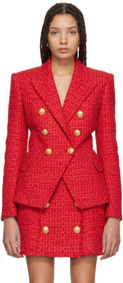 Balmain Red Six-Button Tweed Blazer
