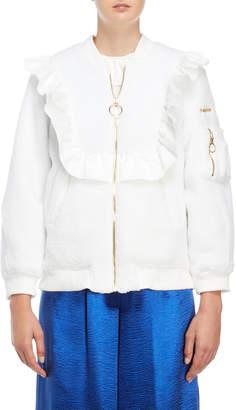 Romanchic White Ruffled Sherpa Bomber Jacket