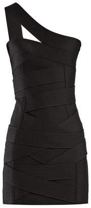 Balmain Asymmetric Bandage Mini Dress - Womens - Black