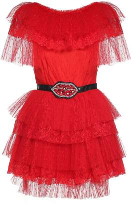 MSGM Embroidered-belt Tulle And Lace Mini Dress