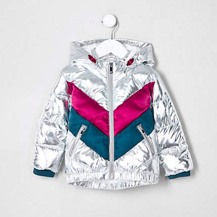Mini girls Silver chevron hooded puffer coat