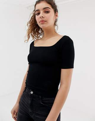 Pull&Bear ribbed square neck 3/4 sleeve top in black