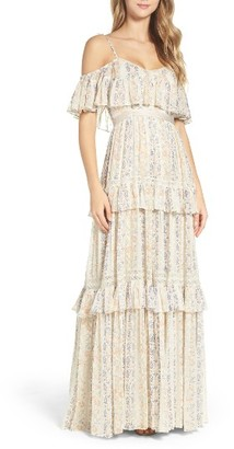 Women's Needle & Thread Cold Shoulder Tiered Gown $599 thestylecure.com