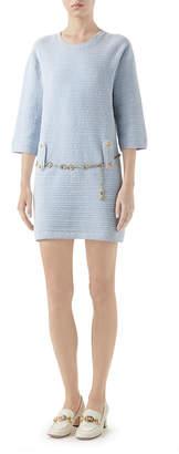 Gucci Half-Sleeve Belted Knit Crewneck Dress