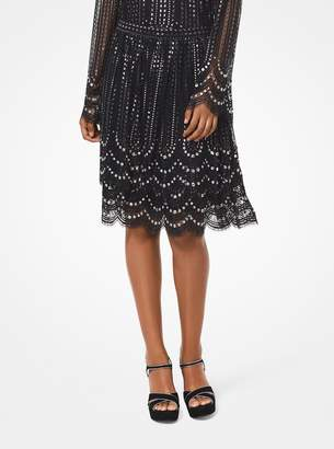 MICHAEL Michael Kors Embellished Tiered Lace Skirt