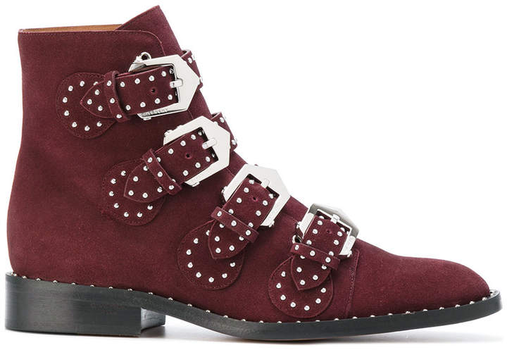 Givenchy studded buckle fitted boots