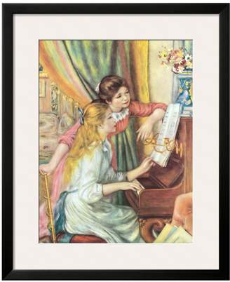 The Art Studio Two Girls at the Piano by Pierre-Auguste Renoir (Framed)