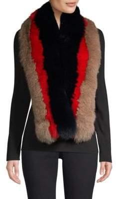 Pologeorgis Stripe Fur Scarf