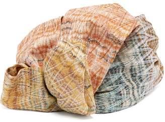 Missoni Flower Metallic Crochet Knit Turban Hat - Womens - Multi