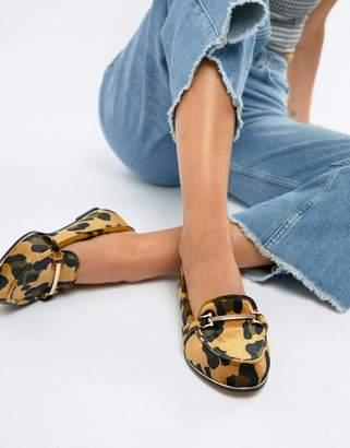 Asos Design DESIGN Maderia flat shoes in leopard print