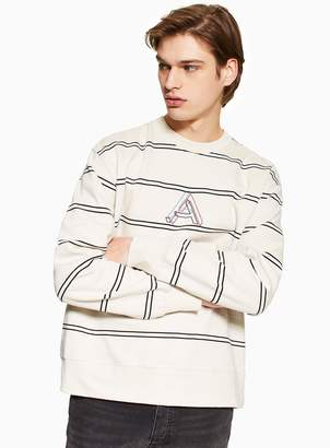 TopmanTopman Off White and Black Embroidered Stripe Sweatshirt