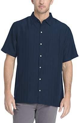 Van Heusen Men's Poly Rayon Short Sleeve Button Down Shirt