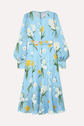 Andrew Gn Belted Floral-print Silk Midi Dress - Blue