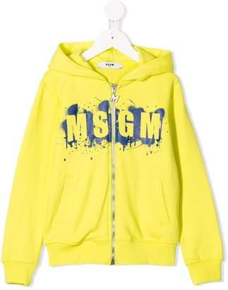 MSGM Kids graphic logo zipped hoodie