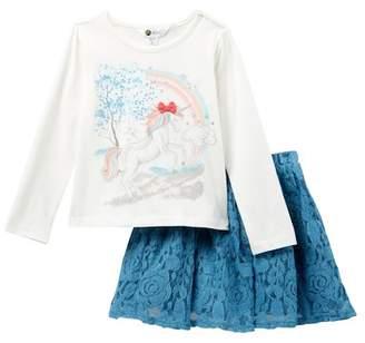 Petit Lem Unicorn Top & Skirt Set (Toddler & Little Girls)