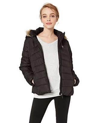 U.S. Polo Assn. Women's Puffer Jacket Faux Fur Hood