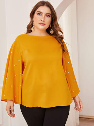 Shein Plus Pearl Beaded Exaggerate Bell Sleeve Top